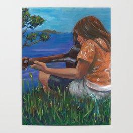 Playing ukulele Poster