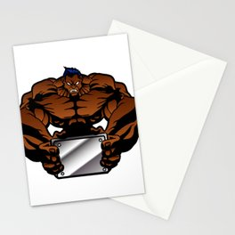 bodybuilder illustration Stationery Cards