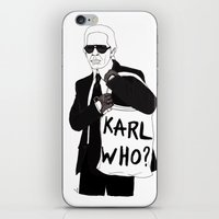 karl lagerfeld iPhone & iPod Skins featuring Karl by Les Gutiérrez