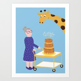 Grandma & The Giraffe Art Print