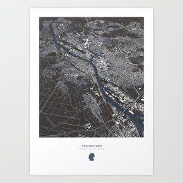 Frankfurt City Map Art Print