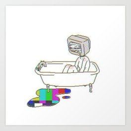 Bathtub TV Head Art Print