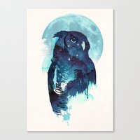 belle Canvas Prints featuring Midnight Owl by Robert Farkas