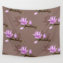 Delicate and elegant magnolia pattern in watercolor and ink style Wall Tapestry