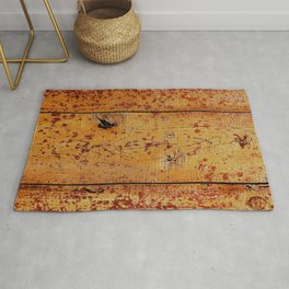 Vintage Honey-Combed Maple-Red Reclaimed Wood Planks Rug
