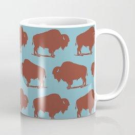 Buffalo Bison Pattern Brown and Blue Coffee Mug