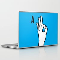 kim sy ok Laptop & iPad Skins featuring OK by MCKIBILLO