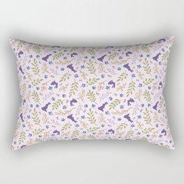 Ditsy Bunnies Amok - Purple Bunnies, Pink Background Rectangular Pillow