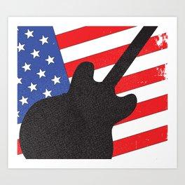 Guitar Silhouette Over Flag Art Print