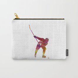Hockey man player 02 in watercolor Carry-All Pouch