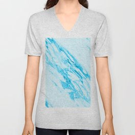 Blue and Cream Marble Pattern Unisex V-Neck