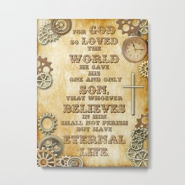 Steampunk Bible Verse For God So Loved the World Metal Print