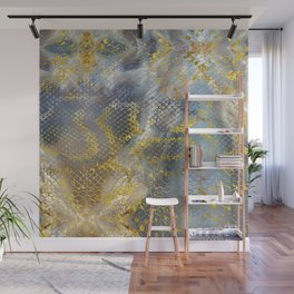 Faux gold snake skin texture on  marble Wall Mural