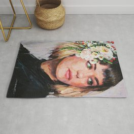 portrait with flowers 2 Rug