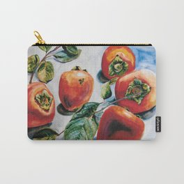 Watercolor Persimmons With Leaves Carry-All Pouch