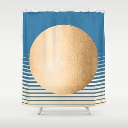 Sun Gradient - Orange Sherbet Shimmer on Saltwater Taffy Teal Shower Curtain