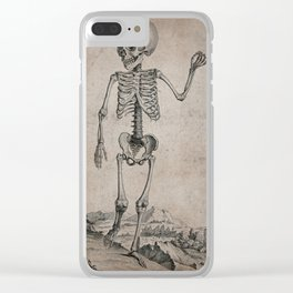 Skeleton of a child standing in a landscape. Engraving, 17--. Clear iPhone Case