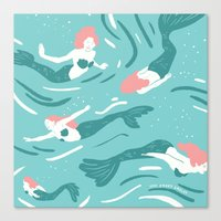 mermaids Canvas Prints featuring Mermaids by JESS SMART SMILEY
