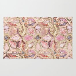 Geometric Gilded Stone Tiles in Blush Pink, Peach and Coral Rug