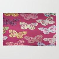 butterflies Area & Throw Rugs featuring Butterflies  by Sammycrafts