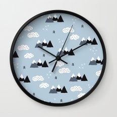 Cool winter wonderland snow Fuji Mountain geometric illustration pattern Wall Clock