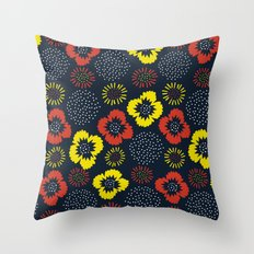 Blooming Wild (red & yellow) Throw Pillow