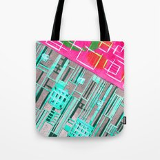 Abstract Woodcut #1 in Pink and Aqua Tote Bag