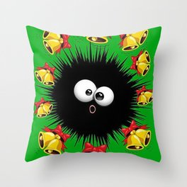 Fuzzy Funny Christmas Sea Urchin Character Throw Pillow