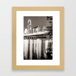Downtown Austin Skyline Over Lady Bird Lake - Sepia Edition Framed Art Print
