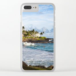 Surfers in Poipu Clear iPhone Case