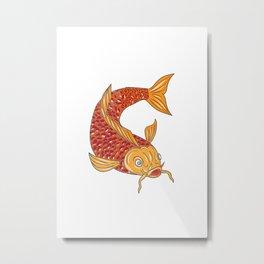 Koi Nishikigoi Carp Fish Swimming Down Drawing Metal Print