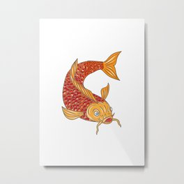Koi Nishikigoi Carp Fish Swimming Down Drawing Metal Print