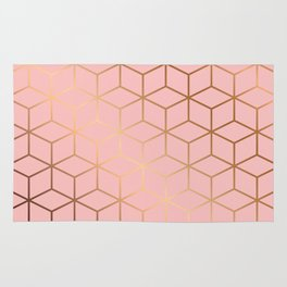 Pink and Gold Geometry 011 Rug
