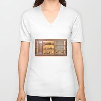 transistor V-neck T-shirts featuring Vintage Wall Radio by jculver