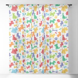 Colorful Dogs Pattern Sheer Curtain