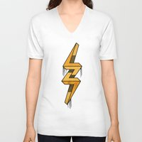 escher V-neck T-shirts featuring escher bolt by Vin Zzep