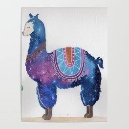 """""""Lady Llama"""" watercolor galaxy animal & cacti illustration Poster"""