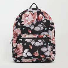 Vintage Pink Rose Flowers Backpacks