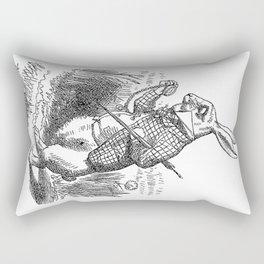 Vintage Alice in Wonderland the White Rabbit emo goth antique book drawing sketch art print Rectangular Pillow