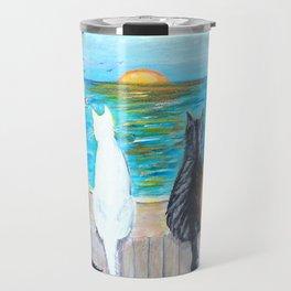 Cat Beach Sunset Travel Mug