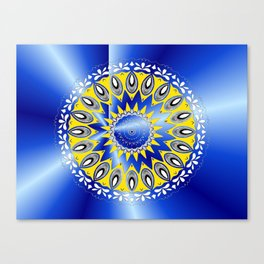 blue and yellow mandala by Saribelle Canvas Print
