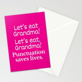 Let's Eat Grandma Punctuation Saves Lives (Pink) Stationery Cards