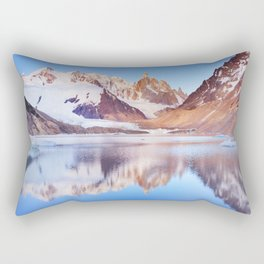 Cerro Torre, Patagonia, Argentina reflected in lake below, at sunrise Rectangular Pillow