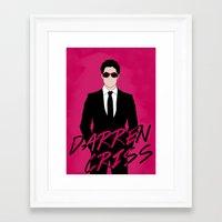 darren criss Framed Art Prints featuring Pink Darren Criss by byebyesally