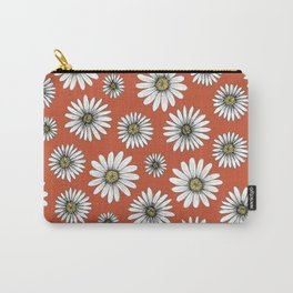 daisies on warm red Carry-All Pouch