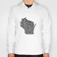 wisconsin Hoodies featuring Typographic Wisconsin by CAPow!