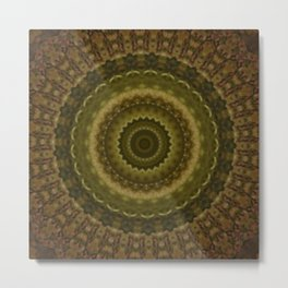 Green Mold Mandala 1 Metal Print