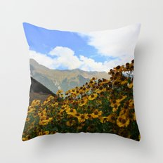 Daisies and Alps Throw Pillow