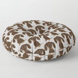 Chocolate Dachshund | Cute Cartoon Wiener Dog Floor Pillow