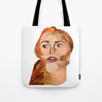 lindsay lohan Tote Bags featuring Lindsay Lohan  by Rebecca Singer Illustration